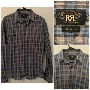RRL Double RL Ralph Lauren Mens Size L Plaid Shirt